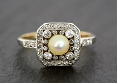 Antique Edwardian Ring - Antique Pearl & Diamond Ring - Gold and Platinum Antique Engagement Ring by AlistirWoodTait on Etsy https://www.etsy.com/listing/276210538/antique-edwardian-ring-antique-pearl