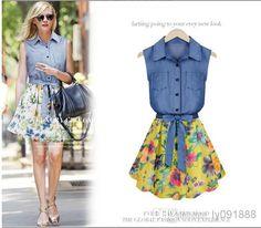 ZANew Summer Style Women Fashion Lapel Dresses Ladies Sleeveless ...