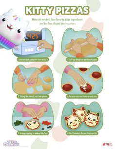 Bake up this tasty Gabby's Dollhouse Kitty PizzaRecipefor a fun lunch for your Gabby's Dollhouse fan! Cute Kids Crafts, Crafts To Make, Diy Paper, Paper Crafts, Kids Craft Supplies, Pizza Ingredients, Favourite Pizza, Shaped Cookie, Cat Party