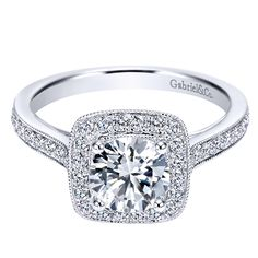 14k White Gold Diamond Halo Engagement Ring | Gabriel & Co NY | ER7525W44JJ