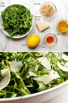 Of the Arugula Salad recipes I've tried this simple version is the best! Just peppery arugula tossed in a dressing of fresh lemon juice, good olive oil and a kiss of honey. Sprinkles of parmesan cheese and pine nuts make it irresistible! Arugula Salad Recipes, Vegetarian Salad Recipes, Salad Recipes For Dinner, Vegan Recipes, Cooking Recipes, Delicious Salad Recipes, Simple Salad Recipes, Pine Nut Recipes, Honey Recipes