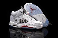 best service 01396 5e581 Supreme x Air Jordan 5 White Fire Red Black Release in 2015