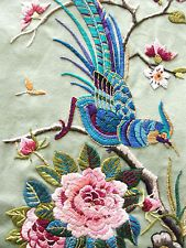 Vintage Hand Embroidered CREWEL WORK BIRD & FLORA - Picture Panel 25