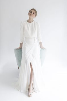 modest wedding dresses with sleeves Simple Wedding Gowns, Two Piece Wedding Dress, Modest Wedding Dresses, Perfect Wedding Dress, Bridal Dresses, Ball Dresses, Ball Gowns, Sheath Wedding Gown, Minimal Fashion