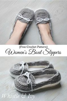 Free Crochet Pattern - Get the free pattern for these comfy and cute boat shoes slippers! {Pattern by Whistle and Ivy} Sie Hausschuhe Ballett Women's Crochet Boat Slippers - Free Crochet Pattern - Whistle and Ivy Crochet Boat, Crochet Diy, Crochet Gratis, Crochet Ideas, Easy Crochet Socks, Loafer Slippers, Baby Slippers, Slippers Crochet, White Slippers