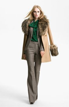 Rachel Zoe 'Trish' Faux Fur Trim Peacoat | #Nordstrom #falltrends
