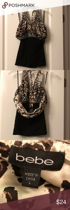 Bebe animal print sexy top size L Sexy, fun going out shirt!  Never worn but no tags. bebe Tops