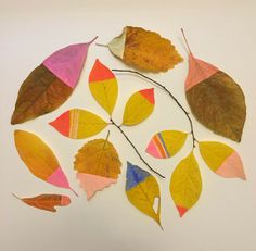diy / leaves / painted / colourful