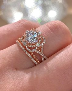 A soft double halo lends a bold but delicate look to this unique style from the HEMERA collection. Ring Details Center Stone Not Included of side diamon Dream Engagement Rings, Three Stone Engagement Rings, Rose Gold Engagement Ring, Vintage Engagement Rings, Beach Engagement, Forever, Or Rose, Cart, Fill