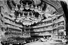 Line drawing of the Paris Opéra performance of GISELLE, 1867 Paris Opera House, Paris Opera Ballet, Charles Garnier, Roman, Ballet Art, Old Paris, Second Empire, Edgar Degas, Stage Lighting