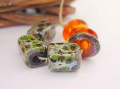 Lampwork Beads  Green & Amber Handmade Glass by LyndasLampwork, $16.00