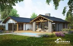 Patio I - Dobre Domy Flak & Abramowicz Beautiful House Plans, Beautiful Homes, Style At Home, Luz Natural, Good House, Home Fashion, Sweet Home, New Homes, Cottage