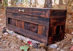 Red Mahogany Hope Chest / Toy Box/blanket Storage From Reclaim Pallet