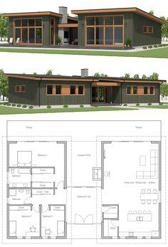 Small House Plan, Small home design - Home & DIY Small Modern House Plans, Small House Design, New House Plans, Dream House Plans, House Floor Plans, Modern Bungalow House Plans, Modern Architecture House, Architecture Plan, Story House