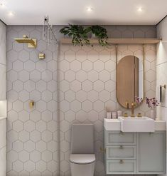"""mini apezinho on Instagram: """"Aquele banheiro que é puro charme e glamour! . . . . . . . . . . . . . . Foto: @anajulia.arq #kitnet #quitinete #kitnetdecorada #decoração…"""" Small Bathroom Interior, Condo Living, Glamour, Home Interior Design, Sweet Home, New Homes, Bathtub, House Design, Furniture"""