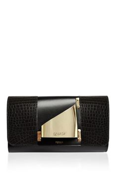 M'O Exclusive Glove Clutch Eiffel In Black Crocodile With Engravement by Perrin Paris for Preorder on Moda Operandi