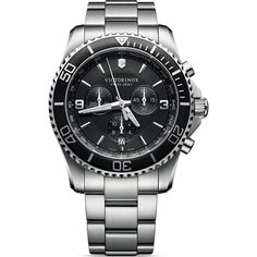50e35313f48 Victorinox Swiss Army Maverick Chronograph Black Dial Silver Bracelet Watch  241695