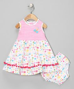 Take a look at this White & Pink Pom-Pom Dress & Diaper Cover - Infant & Toddler by New Potatoes on #zulily today!