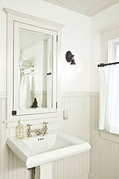 White Beadboard Bathroom - Design photos, ideas and inspiration. Amazing gallery of interior design and decorating ideas of White Beadboard Bathroom in bathrooms by elite interior designers. Bathroom Renos, White Bathroom, Bathroom Ideas, Bathroom Beadboard, Pedestal Sink Bathroom, Bathroom Designs, Bathroom Interior, Pedastal Sink, Bathroom Faucets