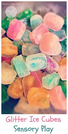 Glitter Ice Cubes Sensory Play. Fun sensory play idea for babies and toddlers.
