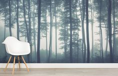 41631400 shutter - Sea of Trees Forest Mural Wallpaper, custom made to suit your wall size by the UK's for wall murals. Custom design service and express delivery available. Tree Wallpaper Mural, Forest Wallpaper, Home Wallpaper, Nature Wallpaper, Forest Room, Forest Mural, Tree Forest, Misty Forest, Slytherin