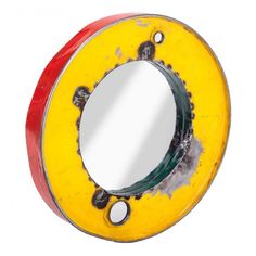 Outdoor Garden Recycled Steel Round Mirrors in Nautical Convex Style Portholes Recycled Mirrors, Garden Mirrors, Oil Drum, Vintage Mirrors, Mirror Wall Art, Centre Pieces, Round Mirrors, Mellow Yellow, Different Colors