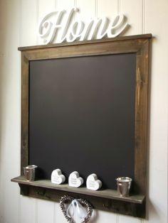 Large Shabby Chic Rustic Wall Hung Blackboard Chalkboard Notice Board Key Hooks in Home, Furniture & DIY, Home Decor, Message Boards | eBay