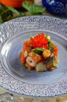 ✿タコサーモンイクラヤングコーンの前菜✿ by ruruchirin ... Christmas Party Food, Fish And Seafood, Fruit Salad, Food Art, Appetizers, Food And Drink, Cooking, Recipes, Gourmet