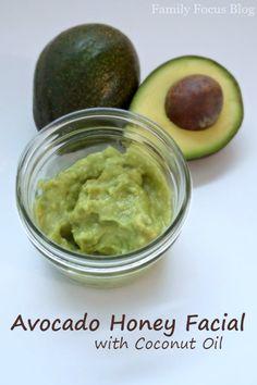 Avocado Honey Facial with Coconut Oil - Family Focus Blog - Avocado Honey Facial Mask - Avocado Honey Facial Recipe - Organic Avocado Mask for Improving Skin
