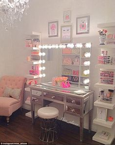 Women have been flaunting their beauty rooms on Instagram, complete with luxe touches such as chandeliers and Hollywood mirrors