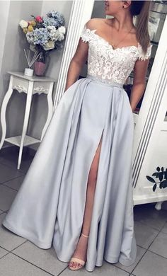 Gray Satin White Lace Off Shoulder Strapless Long Prom Dress, Evening Dress from.Gray Satin White Lace Off Shoulder Strapless Long Prom Dress, Evening Dress from Girlsprom - Handmade item Materials: Sat# dress # Prom Dresses With Pockets, Cute Prom Dresses, Dance Dresses, Pretty Dresses, Dress Prom, Dresses Dresses, Plus Size Prom Dresses, Wedding Dresses, Dresses With Lace
