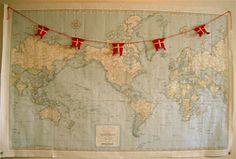 Ravelry: Danish Flag Garland - Danske Flag pattern by Kristen Cooper...make American flags instead!