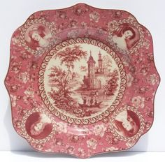 Victorian Toile Square Red Dinner Plate Chintz I have this plate in blue dm Antique Dishes, Vintage Dishes, Antique China, Vintage China, Red Dinner Plates, Vintage Plates, China Patterns, Ceramic Plates, White Ceramics