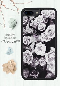 iPhone 7 Plus Case, Black And White Rose Pattern, Dark Soul, Girly Floral Print, Christmas Gift