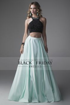 2016 Prom Dresses A-Line Scoop Floor-Length Satin  Two Pieces Black Bodice Backless