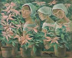 Gathering Poinsettias ANITA MAGSAYSAY-HO (Filipino, 1914-2012)  Gathering Poinsettias  signed and dated 'Anita Magsaysay Ho 1977' (lower middle)  oil on canvas  65 x 91 cm. (25 5/8 x 35 7/8 in.)  Painted in 1977