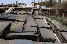 Cracks in seaside road
