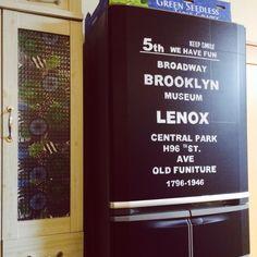 miccoさんの、バスロールサイン風,ハンドメイド,セリア,冷蔵庫,100均,黒板シート,黒板,リメイクシート,のお部屋写真