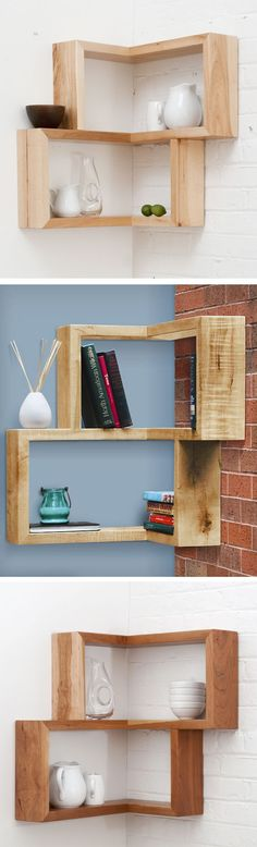 Clever corner shelf // this is a brilliant design idea for an awkward, empty corner Cool Shelves, Corner Shelves, Shelving, Home Upgrades, Dremel, Home Projects, Decoration, Home Furniture, Home Improvement