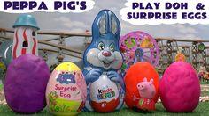 Peppa Pig Play Doh Surprise Eggs Giant Kinder Surprise Egg Thomas & Frie...