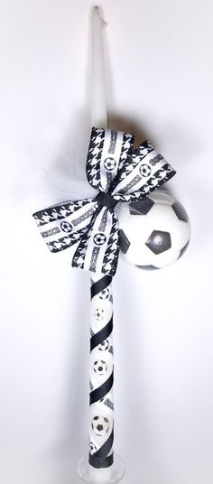 Items similar to Soccer - Greek Easter Candle (Lambatha) on Etsy Orthodox Easter, Greek Easter, Godchild, Easter Candle, Oil Bottle, Candle Making, Paper Art, Diy Crafts, Candles