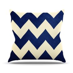 "Catherine McDonald ""Fleet Week"" Navy Chevron Throw Pillow   KESS InHouse - neutral living room with navy pops"