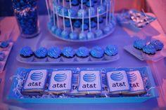 Cookies bore sponsor AT&T's logos.
