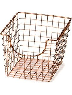 Spectrum Diversified Wire Storage Basket, Medium, Copper ❤ Spectrum  Diversified | OFFICE ESSENTIALS | Pinterest | Wire Storage, Storage Baskets  And Storage
