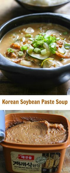 Soybean paste soup is a popular everyday dish in Korea. It is typically served in a hot earthenware pot and made with assorted vegetables, red meat or seafood and fermented soybean paste.