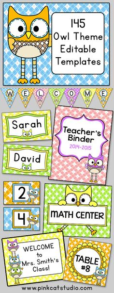 Owl Theme Name Tags & Locker Labels | Owl name tags