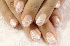 White lace on nude nails