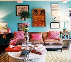 Blue accent wall.
