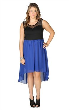 Chiffon High Low Dress with Illusion Bodice and Stud Detail - Possible Birthday Dress $42.90