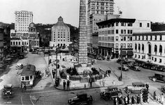 Pack Square, approx. late 1920's. I think I spy a couple of Ford Model A's in front of the Vance Monument. Can you identify any other Fords in this picture?